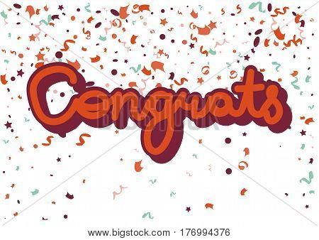Congrats red inscription on white with confetti decorative elements. Greeting concept on festival vector card in flat design. Celebration template picture with congratulating word and adornments