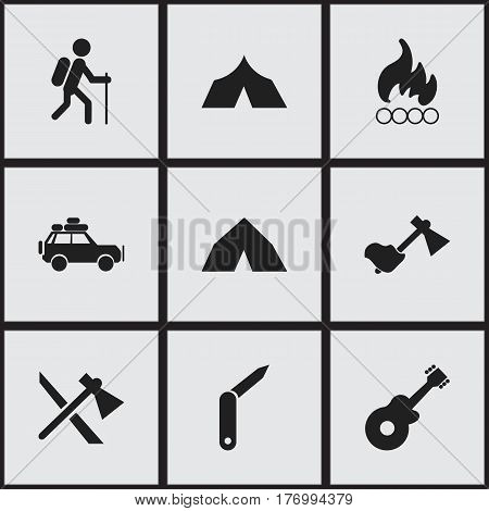 Set Of 9 Editable Camping Icons. Includes Symbols Such As Tomahawk, Gait, Clasp-Knife And More. Can Be Used For Web, Mobile, UI And Infographic Design.