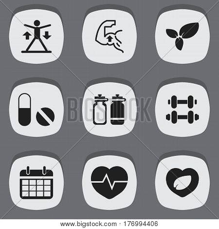 Set Of 9 Editable Training Icons. Includes Symbols Such As Hand Barbell, Leaf In Heart, Training. Can Be Used For Web, Mobile, UI And Infographic Design.
