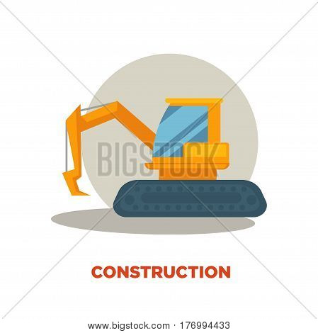 Modern construction technologies promotion banner. Big orange excavator machine in grey circle with shadow isolated on white background with sign. Building company label vector illustration.