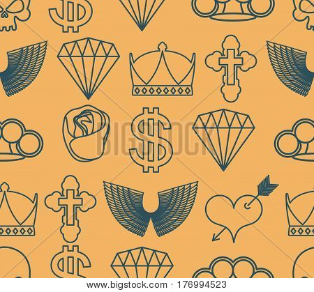 Tattoo Seamless Pattern. Skull And Brass Knuckles. Rose And Heart With An Arrow. Wings And Cross. Cr