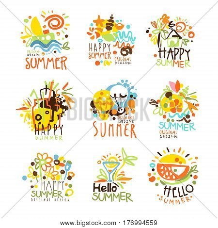 Happy Summer Vacation Sunny Colorful Graphic Design Template Logo Set, Hand Drawn Vector Stencils. Artistic Promo Posters With Funky Font And Fun Design Elements.