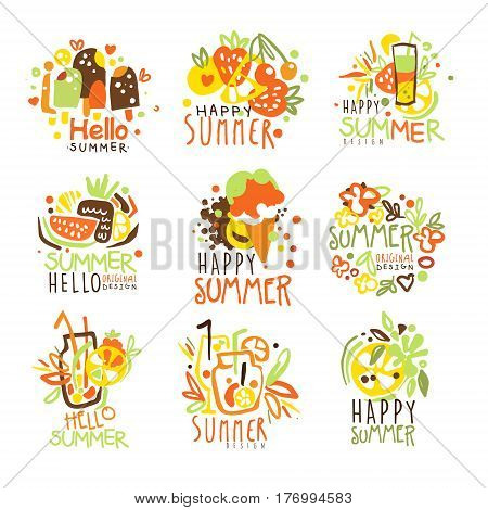 Happy Summer Vacation Sunny Colorful Graphic Design Template Logo Series, Hand Drawn Vector Stencils. Artistic Promo Posters With Funky Font And Fun Design Elements.