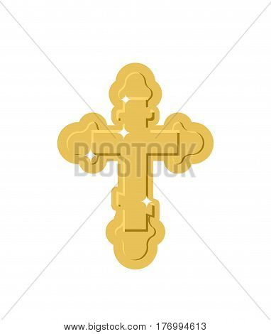 Golden Cross Isolated. Orthodox Symbol Of Gold