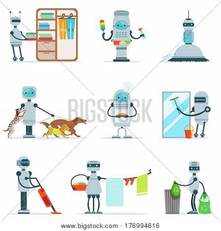 Housekeeping Household Robot Doing Home Cleanup And Other Duties Set Of Futuristic Illustration With Servant Android. Future Technology And Robotic House Cleaner Cartoon Vector Drawings.