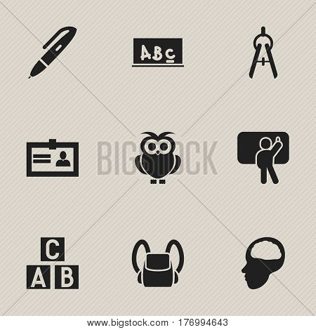 Set Of 9 Editable University Icons. Includes Symbols Such As Pen, Certification, Math Tool And More. Can Be Used For Web, Mobile, UI And Infographic Design.