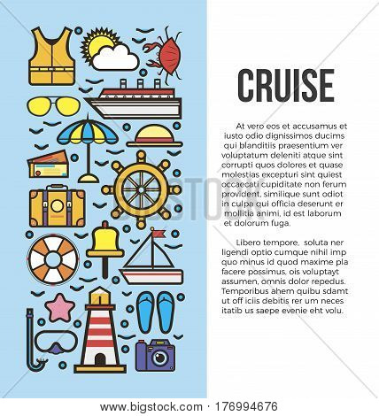 Set of sea cruise cartoon style on blue and white background with text. Vector illustration of sun umbrella, life buoy and vest, travelling suitcase, cruise ship, sea tickets, accessories for beach.