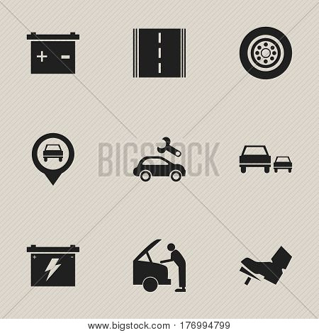 Set Of 9 Editable Car Icons. Includes Symbols Such As Treadle, Tire, Pointer And More. Can Be Used For Web, Mobile, UI And Infographic Design.