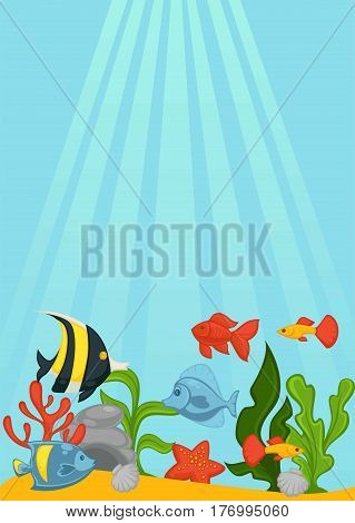 Send ocean bottom with green seaweed, beautiful shells, big stones, red starfish, sharp coral and bright exotic fishes. Sun rays breaks through blue water. Spectacular seascape vector illustration.