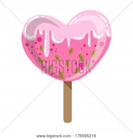 Heart Shaped Glazed Ice-Cream Bar On A Stick With Sprinkles, Colorful Popsicle Isolated Cartoon Object. Cold Sweet Dessert Frozen Sherbet Cute Childish Vector Icon.