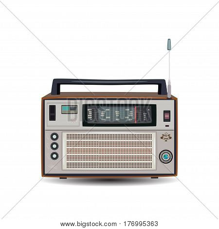 Vector illustration of retro radio isolated on white background. Flat style design.