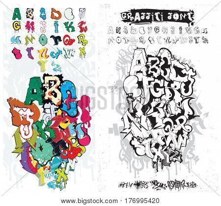 Vector Alphabet Graffiti. Street Art  Style Font Texture, Design Elements