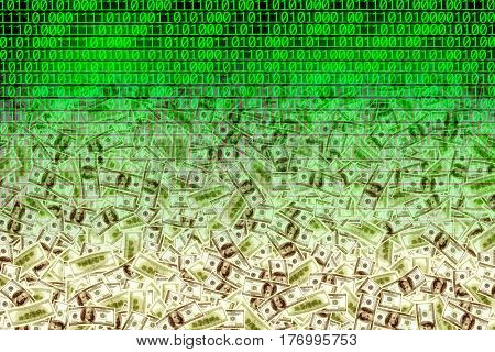 American dollars over binary code background
