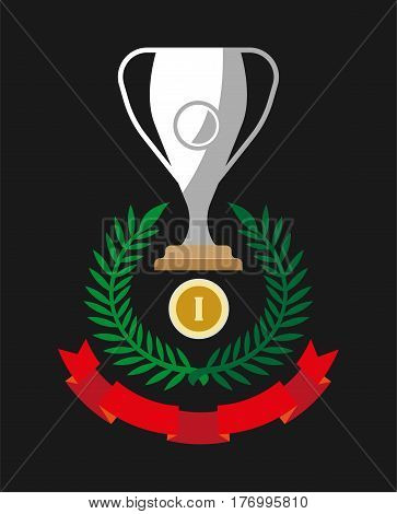 Gold medal reward for first place, silver cup, leaf crown and red ribbon isolated on black. Vector illustration of awards for achievements in competition participation vector illustration set.
