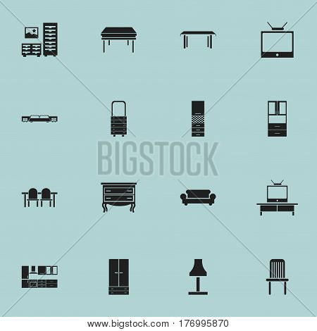 Set Of 16 Editable Interior Icons. Includes Symbols Such As Wardrobe, Wall Mirror, Glim And More. Can Be Used For Web, Mobile, UI And Infographic Design.