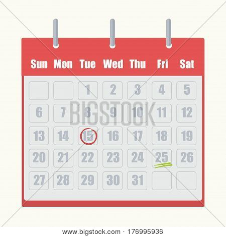 Red flip-flop calendar with gray numbers close-up on white background. Marks on dates circled in red or underlined by two green lines. Vector illustration with agenda and appointment date sign