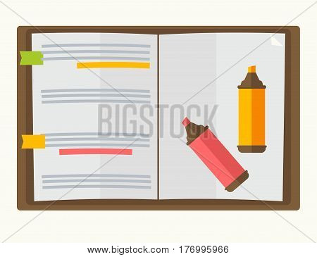 Opened notebook with two markers graphic design on white background. Text in recording book highlighted with pink and yellow felt-tip pen. Vector illustration of sketchbook and two color pencils