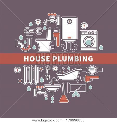 Set of house plumbing with drops of water. Vector illustration of crane and battery, water pipe and sink, white toilet and retro bath, adjustable wrench, water heater and meter, washing machine.