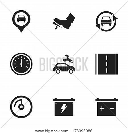 Set Of 9 Editable Vehicle Icons. Includes Symbols Such As Speed Display, Speed Control, Highway And More. Can Be Used For Web, Mobile, UI And Infographic Design.