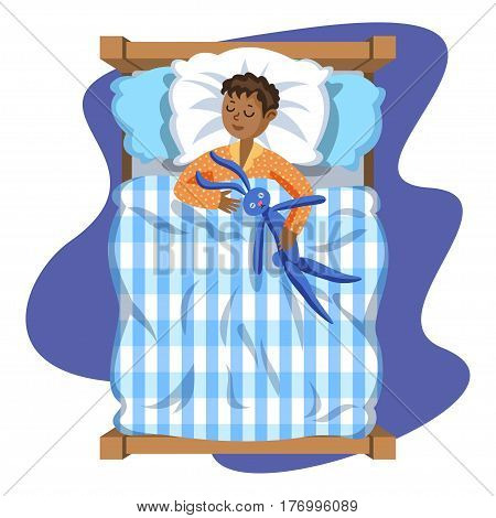 Sleeping brunette baby boy with toy bunny. Bedtime. Cartoon character boy. Kid sleep bedtime in his bed. Vector Illustration