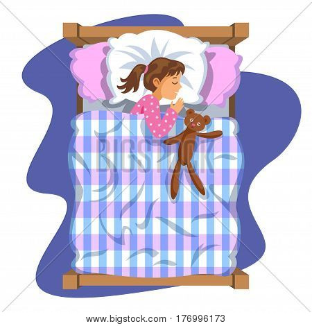 Sleeping brunette baby girl. Bedtime. Cartoon character girl. Kid sleep bedtime in his bed with teddy bear. Vector Illustration