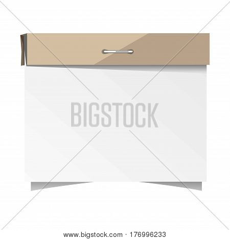 Empty white sticker with brown binding close-up on white background. Sticky note with pin, sheet with peeled corners on adhesive tape. Vector illustration of memo paper in cartoon style