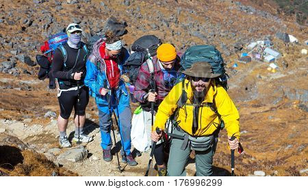 Group of Hikers dressed in bright sporty Clothing walking up on steep Mountain Trail with mixed rocky and grassy terrain carrying Backpacks and using hiking Sticks.