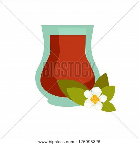 Green or black tea with jasmine in turkish cup graphic icon isolated on white. Teacup logo bowl with flower of jessamine and green leaves. Vector illustration in cartoon style for web. Healthy drink