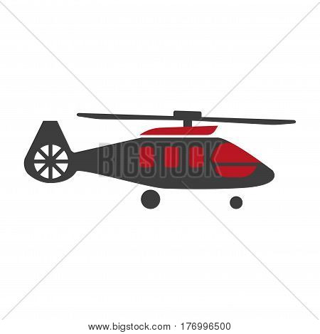 Military rescue helicopter icon vector image. Suitable for use on web apps, mobile apps and print media. Black and red copter or rotor plane isolated on white. Illustration of air transport close-up.