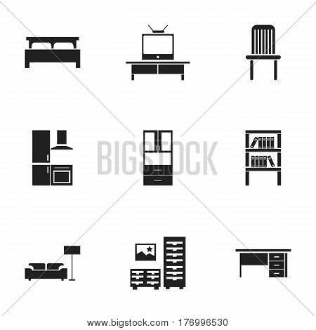 Set Of 9 Editable Furnishings Icons. Includes Symbols Such As Cabinet, Bearings, Bookrack And More. Can Be Used For Web, Mobile, UI And Infographic Design.