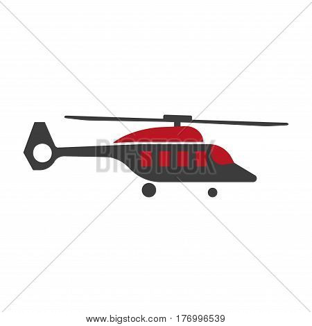 Horizontal black and red copter with sharp nose on white background. Vector illustration of air transport close-up. Graphic figure in cartoon style of helicopter or rotor plane icon in flat design