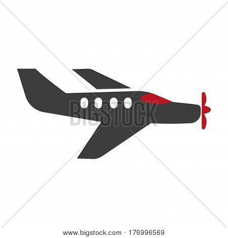 Passenger aircraft silhouette isolated on white vector logo picture. Illustration in flat design of black plane with windows and red front turned element, two wings. Flying mean of transportation sign