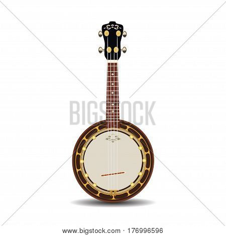 Vector illustration of a banjo isolated on a white background. Banjo musical instrument in flat style.