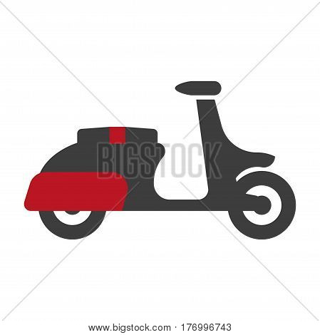 Delivery motorbike graphic logo sign silhouette in flat design on white. Speedy mean of transportation on two wheels with place for driver and for box with food or goods. Red-black motorcycle icon