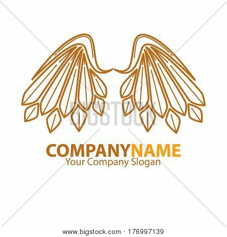 Company name emblem with angel brown wings logotype design on white background. Vector illustration of business card and partnership slogan. Create your motto and add company name to feather logo