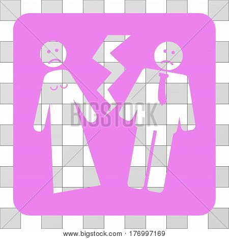 Broken Wedding interface toolbar icon. Vector pictograph style is a flat symbol hole inside a rounded square shape, violet color.