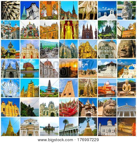 World Religious Monuments - collage from different religions from Bali, Thailand, Cambodia at Asia and Florens, Spain, Santorini, Venice in Europe