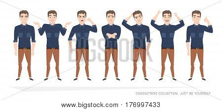 Set of emotions for business man.Young male in a cartoon style experiences different emotions.