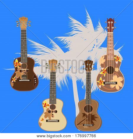 Vector set of hawaiian guitars. Traditional and electric ukulele string plucked musical instruments isolated in flat style.