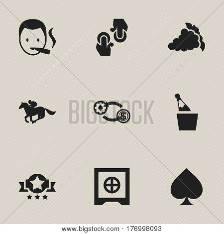 Set Of 9 Editable Business Icons. Includes Symbols Such As Smoker, Bottle In Bucket, Merlot And More. Can Be Used For Web, Mobile, UI And Infographic Design.