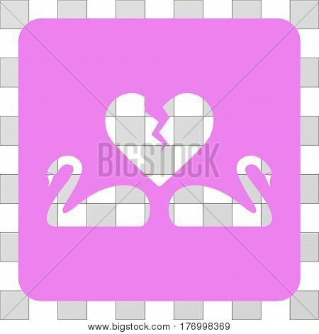 Divorce Swans rounded icon. Vector pictograph style is a flat symbol hole on a rounded square shape, violet color.