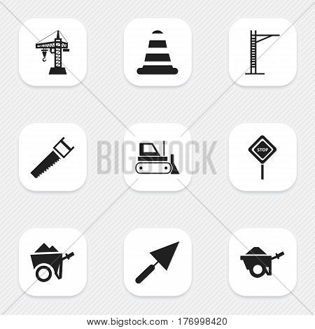 Set Of 9 Editable Building Icons. Includes Symbols Such As Warning Cone, Elevator, Hacksaw And More. Can Be Used For Web, Mobile, UI And Infographic Design.