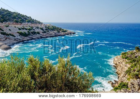Beautiful views of the Mediterranean sea from the high shore