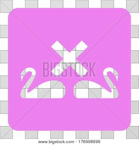 Divorce Swans interface toolbar icon. Vector pictograph style is a flat symbol hole centered in a rounded square shape, violet color.