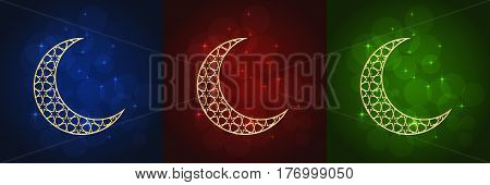 Set of three Ramadan greeting cards on blue, red and green backgrounds.
