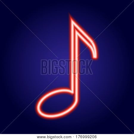 Musical note neon red glowing of vector illustration