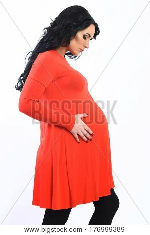 Pretty Cute Pregnant Woman Stroking Her Belly