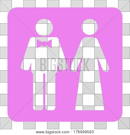Just Married Persons square icon. Vector pictogram style is a flat symbol perforation on a rounded square shape, violet color.