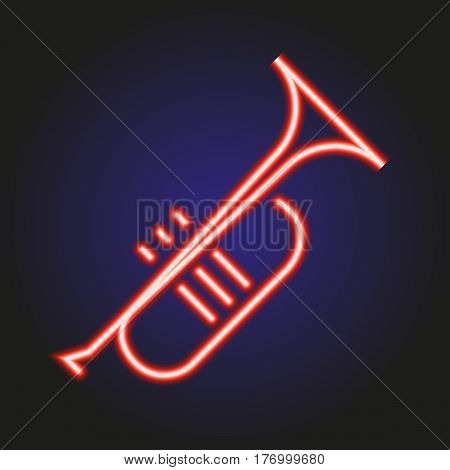 Trumpet neon red glowing of vector illustration