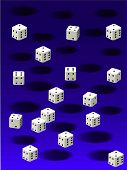 white dice and black holes against a blue background texture. 2D illustration poster